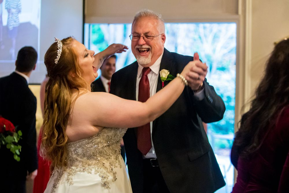 Father daughter dance during a wedding reception at Winter Green Woods in Lexington, SC
