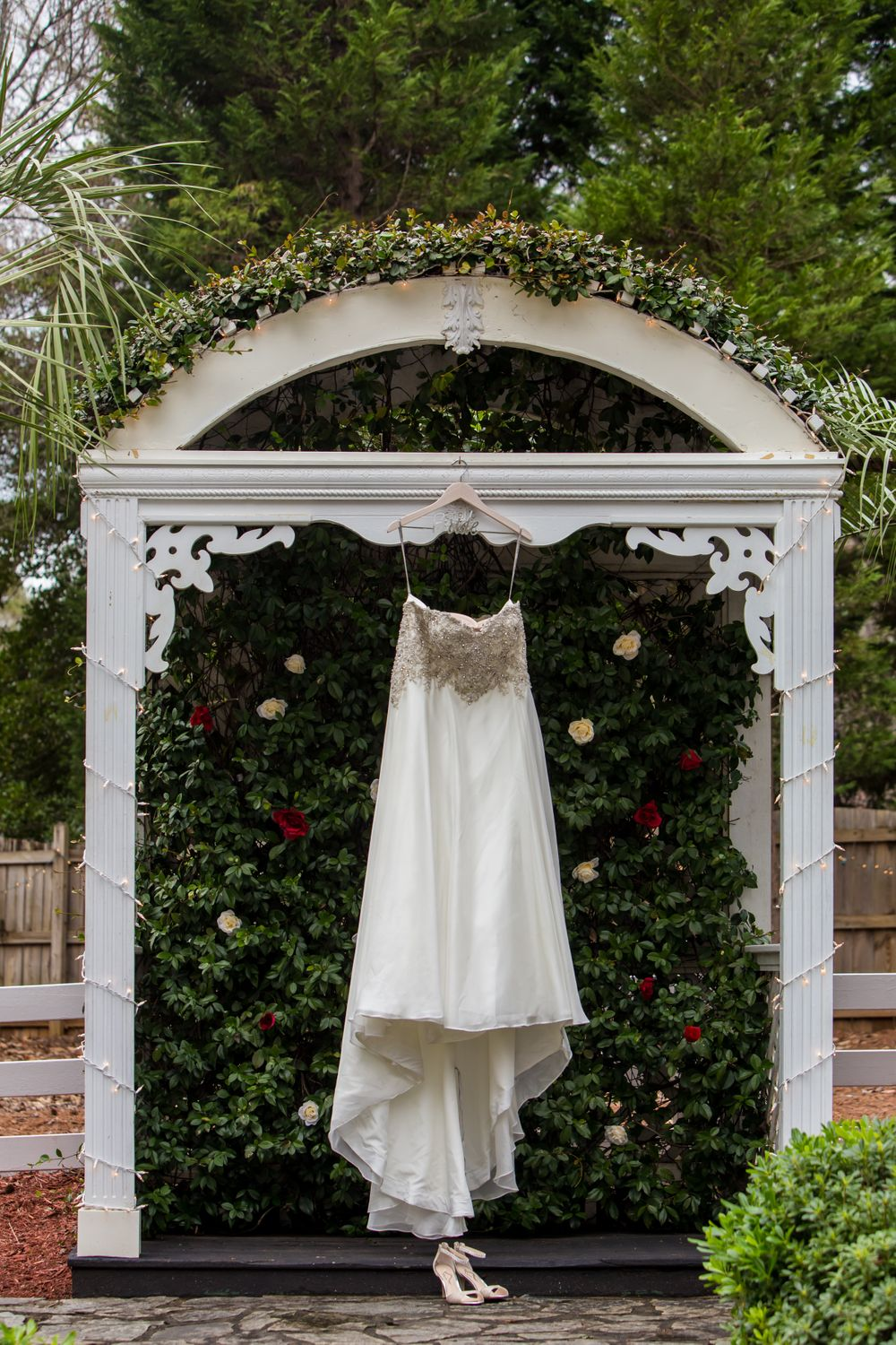 A bridal dress hanging at Winter Green Woods in Lexington, SC